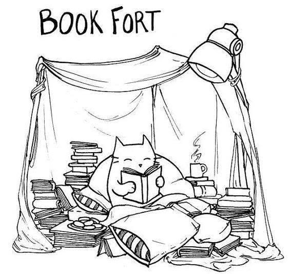A cat is sitting in a cozy, comfortable pillow fort filled with books.